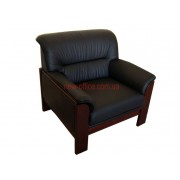 Кресло кожаное ELEGANT-1S черный (850х800хН810)