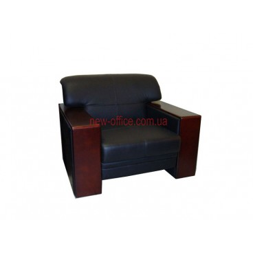 Кресло кожаное FAVORITE-1S черный (870х850хН810)